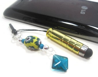 Cell Phone Charm - Yellow Mini Stylus Charm - Stylus Clay Bead Charm - Cell Phone Dust Plug -  Tablet Stylus