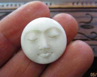 Handmade Stunning 20 mm Moon Face closed Eye bone cabochon, embellishment, Scrap booking,  B4228