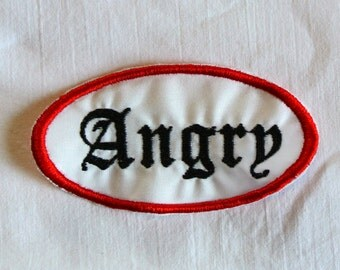 Angry Patch Classic Oval Old English lettering perfect for Jackets and Vests