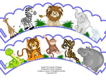 Jungle Fun Cupcake Wrappers To Download & Print