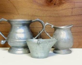 USA Pewter Kitchen Set 0f 3, Sugar/Creamer/Mini Bucket, Pewter Collection, Rustic Farmhouse Kitchen