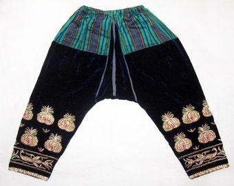 Vintage Bukhara Uzbek Women's Trousers Pants LOZIM Gold Embroidery Silk Velvet