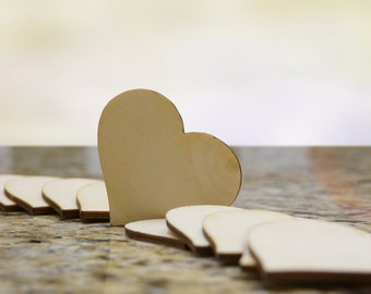70 Wooden Hearts Natural Wood Heart shaped Gift Tag , Wedding Decoration , Bridal Shower , Escort Card , Place Card