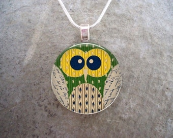 Owl Jewelry - Glass Pendant Necklace - Owl 13