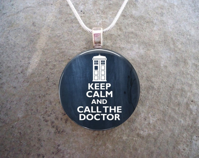 Doctor Who Jewelry - Glass Pendant Necklace - Keep Calm and call The Doctor