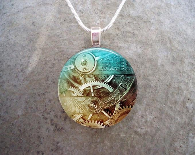 Steampunk Necklace - Glass Pendant Jewelry - Steampunk 2-23 - RETIRING 2017