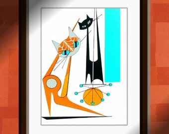 "Atomic Mid Century Modern Cat Print, Retro Art, Eames Style,  Cat Art by Dominic Bourbeau 8""X10"""