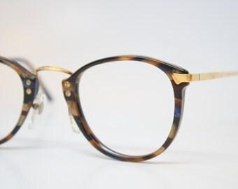 Vintage Glasses Frames Gold Blue vintage Eyeglass Frames 1980s Retro Eyeglasses