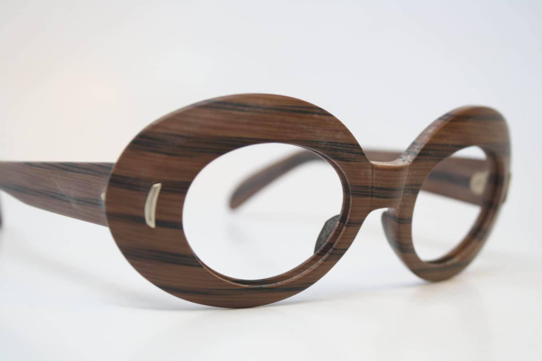 Eyeglass Frames Wood : Vintage Glasses Frames Faux Wood vintage Eyeglass Frames 1980s