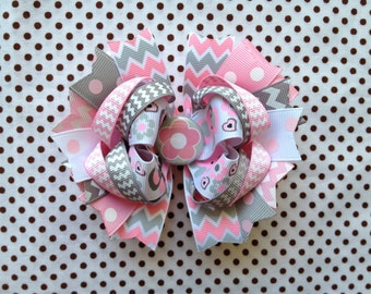 Ready To Ship Hairbow! Pink And Grey Flowers And Elephants Hairbow, Chevron Hairbow, Polka Dot Boutique Hairbow, Girls Hairbow
