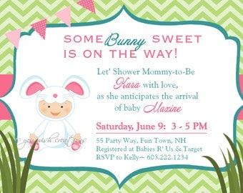 chevron bunny  etsy, Baby shower invitations