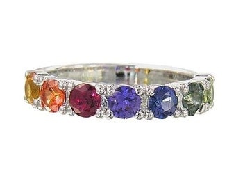 Rainbow Sapphire Engagement Ring 925 Sterling Silver : SKU 1820-925