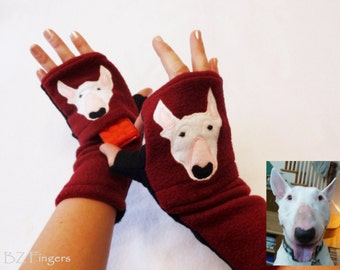 Your Bull Terrier Gift. Personalized Dog Walking Fingerless Gloves with Pockets.