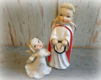 vintage 1950's angel figurines / set of 2 angels / made in japan / drummer & dancer