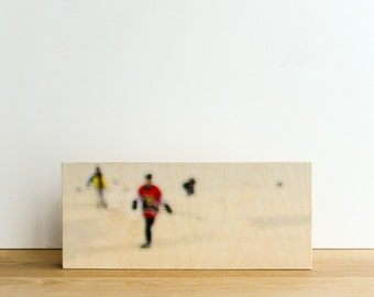 "Pond Hockey, Photo Art Block, Limited Edition Image Transfer on 6""x14"" Wood Panel, 'Team Colour' by Patrick Lajoie, hockey photography"