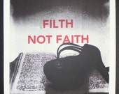 fetish themed screen print shoe on bible and praying hand  filth not faith from project filth not faith a3