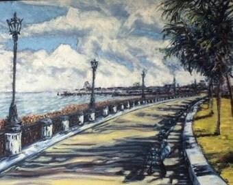 "Charleston waterfront park original oil on canvas 12""x 16"""