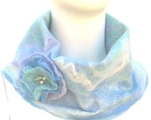 Felted Cowl with swirls of blue, white and a hint of mauve