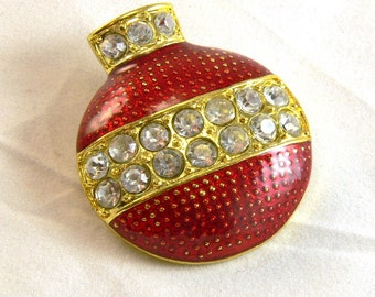 ON SALE Vintage Christmas Ornament Brooch with Rhinestones, red and gold