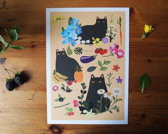Black Cats A4 Print - Cat print - Cats - I like cats - Cat illustration - Cat art - Black Cats - Wall art - Home decor - Flowers - Cat gifts