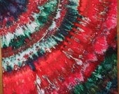 Red and Green-Quarter Circle in Fan pattern - Snow Dyed cotton  #003