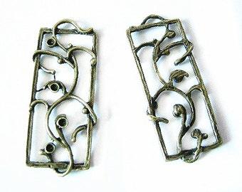 4pc antique bronze Rectangle Pendant-4875