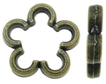 12pc antique bronze finish 16mm flower shape bead frames-9517
