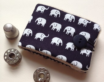 Needlebook Needlecase in cute little Elephant Fabric