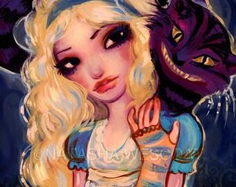 Alice in Wonderland, Cheshire Cat, gothic art,   Fine Art PRINT by Natasha Wescoat 8x10 12x16 13x19 16x20