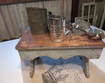 Lot of Primitive Type Kitchen Tools or Utensils - Flour Sifters and Hand Mixer