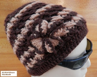Hand crocheted women's adult size caramel and brown colour winter beret.