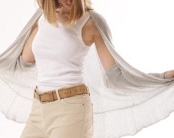 Sheer ultralight gray cardigan, summer cardigan, Handmade of organic Bamboo