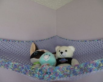Extra large crochet toy net lavender girls room or choose your colors stuffed animal storage MADE TO ORDER