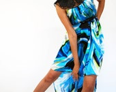 Blue Abstract Silk Dress - FashionRisks