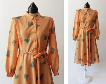 70's Peach Full Skirt Collared Dress