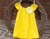 Girls Summer Dress, Girls Yellow Dress, Girls Monogrammed Dress, Kids Dress, Girls Peasant dress, butterfly sleeves, Polka Dot dress