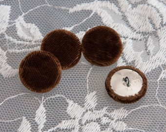 """14 Vintage 5/8"""" Fabric Covered Shank Buttons. Faux Fur in Brown Velvet/Velour. Silver Tone Metal Back and Shank Loop. Item 1833FC"""