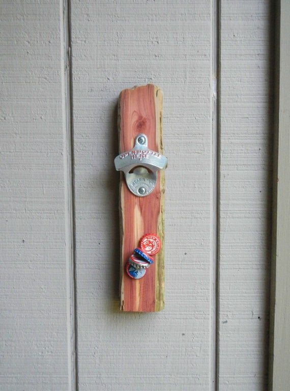 Driftwood bottle opener with magnet cap catcher wall mounted - Bottle opener wall mount magnet ...