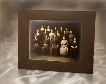 Charm School Class Graduation Portrait - Haunting Vintage 1890s Womens Group Photograph