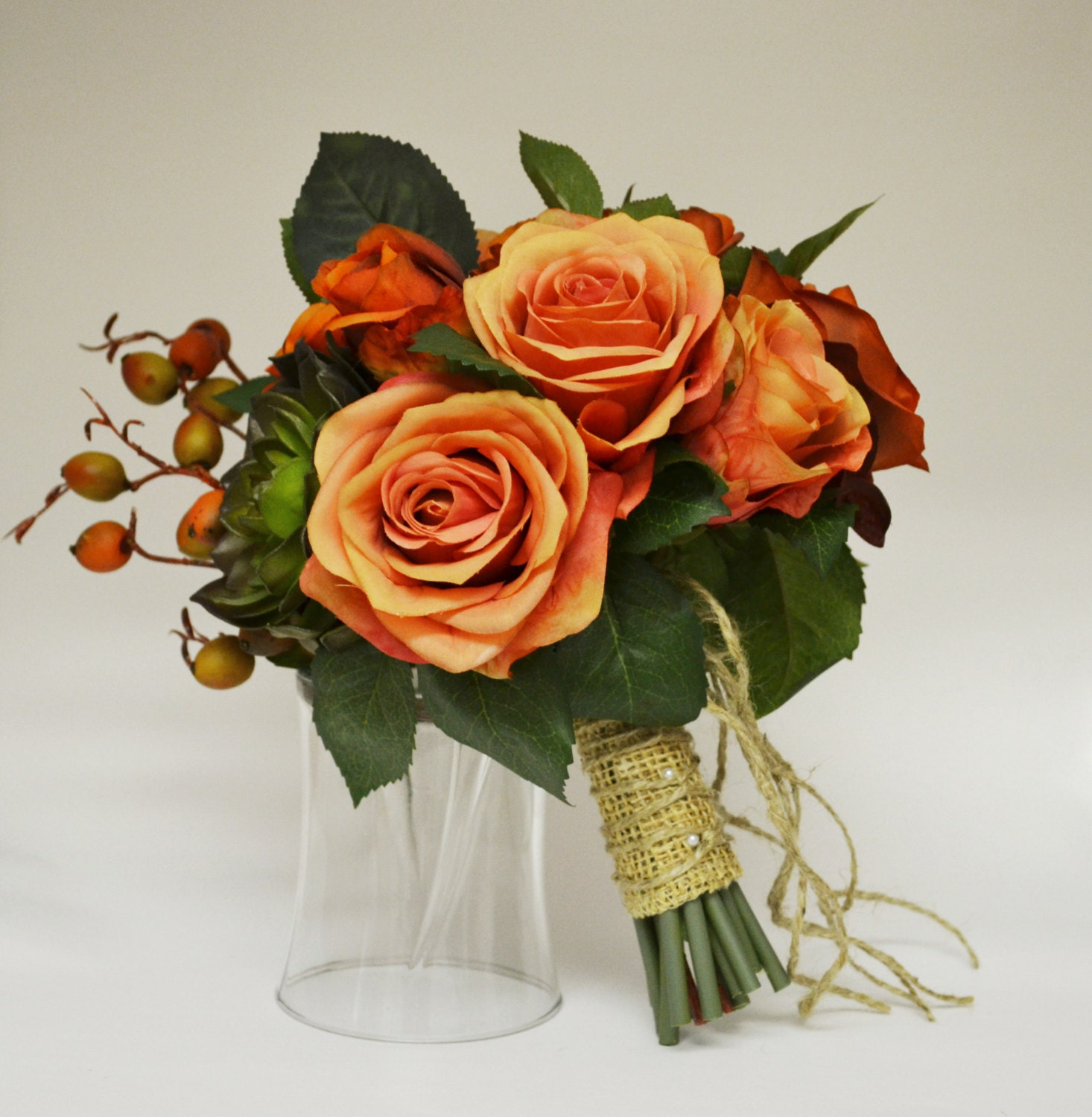 Fall Bouquet Bridal Bouquet Small Bouquet Orange Coral