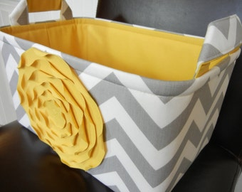 "LG Diaper Caddy(No Divider)-Toy basket 12""x8""x6""(choose COLORS)-Fabric Storage Organizer-Baby Gift-Chevron-""Yellow  Rose on Grey Zigzag"""