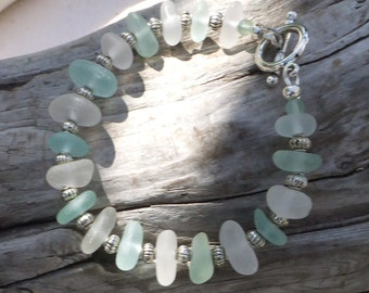 Sea Glass Bracelet - Genuine Beach Glass -  Ocean colors Mint Aqua White Seafoam