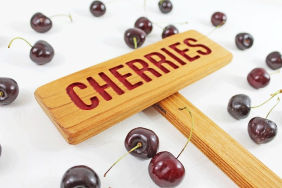 CHERRIES Rustic Tree Sign, Hand Routed