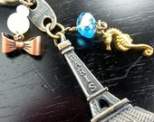 Coco Chanel Deauville Seahorse, Eiffel Tower KeyChain,  Paris Mode French Retro Bling w Bow + Pearl,  brass + antiqued