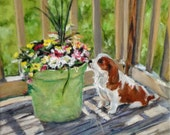 "Fine Art 6 X 6 print of my original oil painting ""Cavalier Puppy"""