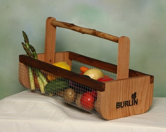 Garden Basket-Garden Harvesting Basket (BURLIN)- Vegetable Basket, Hod,Picnic Basket, Storage Basket, Medium Size