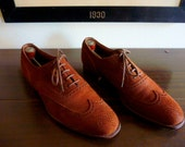 BEAUTIFUL Vintage Crockett and Jones for Carroll and Co. of Beverly Hills Brogued Brown Suede Wingtip Oxford Shoes 9 1/2 B. Made in England.