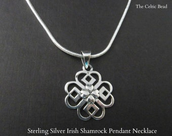 Sterling Silver Irish Shamrock Pendant Necklace