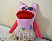 Unique Sock Animal Cat with Antique Lace Skirt, Hand-Stitched, Made with all Reclaimed Clothing, OOAK, Fully Sustainable Gift, Rag Doll