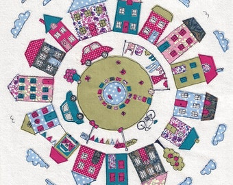 Print of original textile artwork 'Round About the Houses'. Applique and Machine free motion embroidery. Including Liberty fabrics!